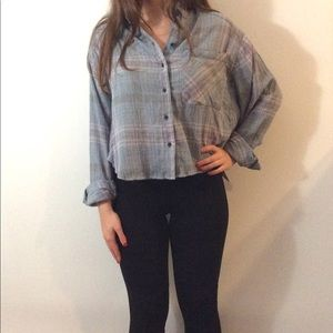 NWT. Blue Plaid cropped top by Free People. size S